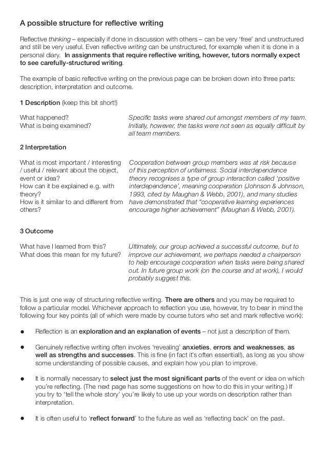 different structures reflective essay There are four different types of writing styles: expository, descriptive, persuasive and narrative  how to write a reflective essay with sample essays by .
