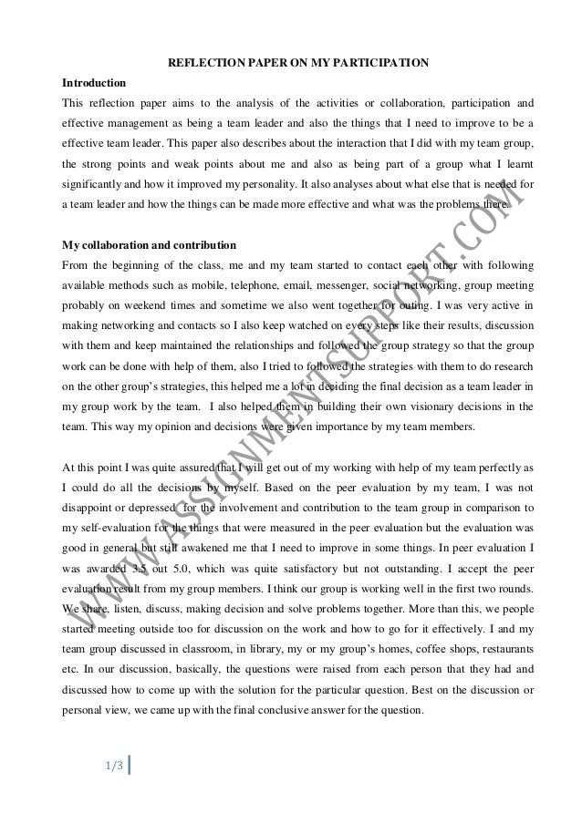 reflection paper on my participation introduction this reflection paper aims to the analysis of the activities - Personal Reflective Essay Examples