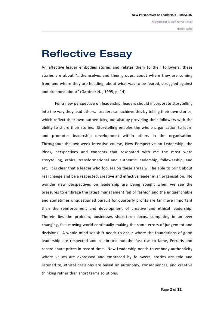 Reflective essay sample paper