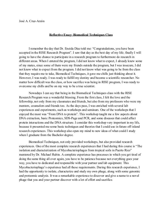 Examples of reflective essay