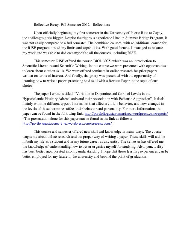 good reflective essay examples come example of reflective  first semester reflective essay examples 1 good reflective essay examples
