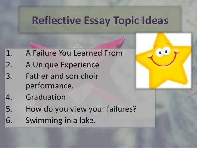 reflective essay ideas It helps to understand how to write a reflective paper and the purposes of  the  experience by providing details on the episode or object that prompts this review.