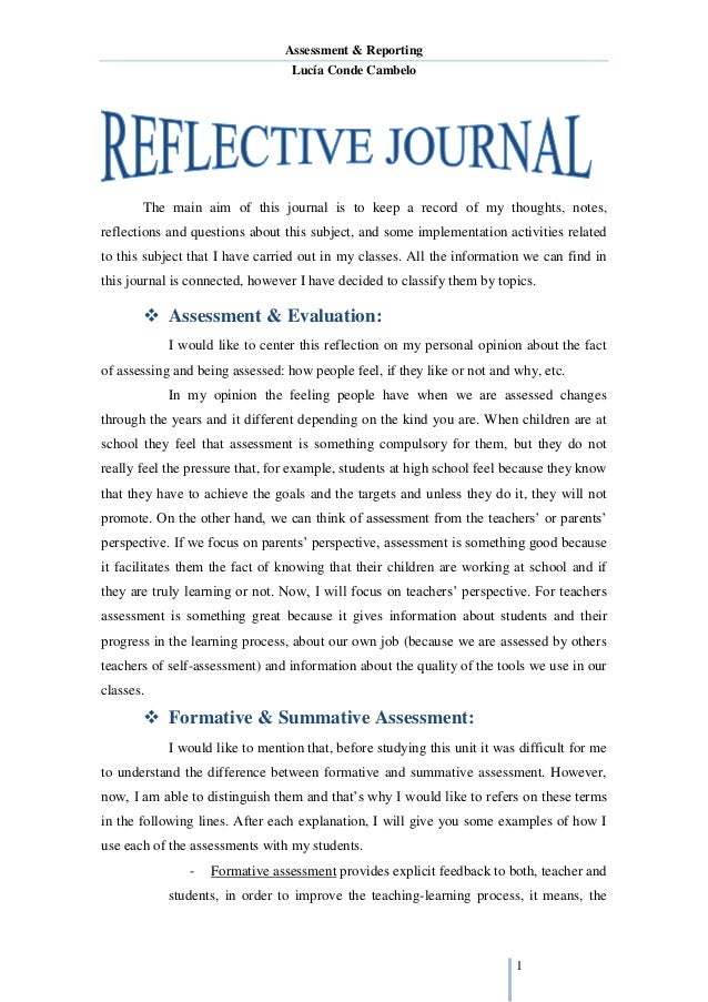 Example Of Reflective Journal Essay - Write reflective