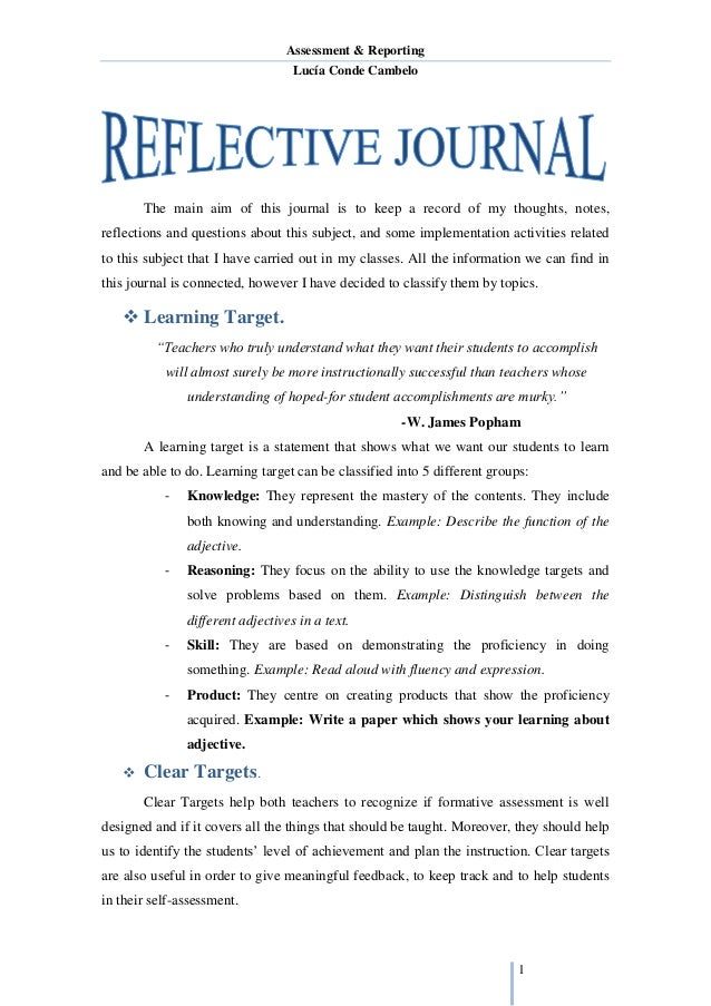 individual reflective report example