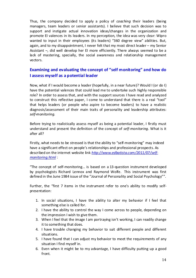 Reflective leadership essay