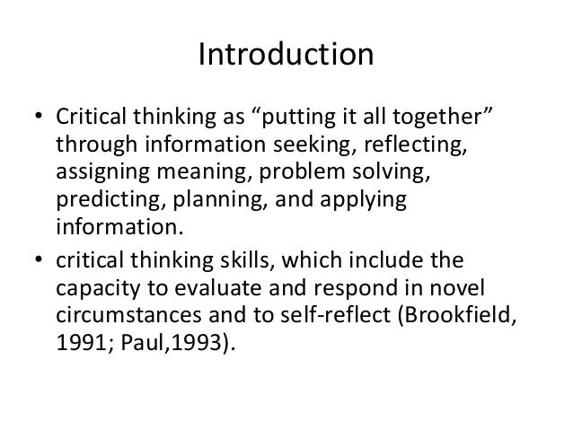 critical thinking reflection paper essay