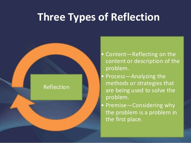 reflective practicee Reflective practice is, in its simplest form, thinking about or reflecting on what you do it is closely linked to the concept of learning from experience, in that .