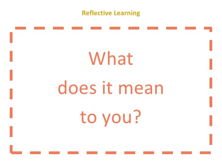 Facilitating Reflection