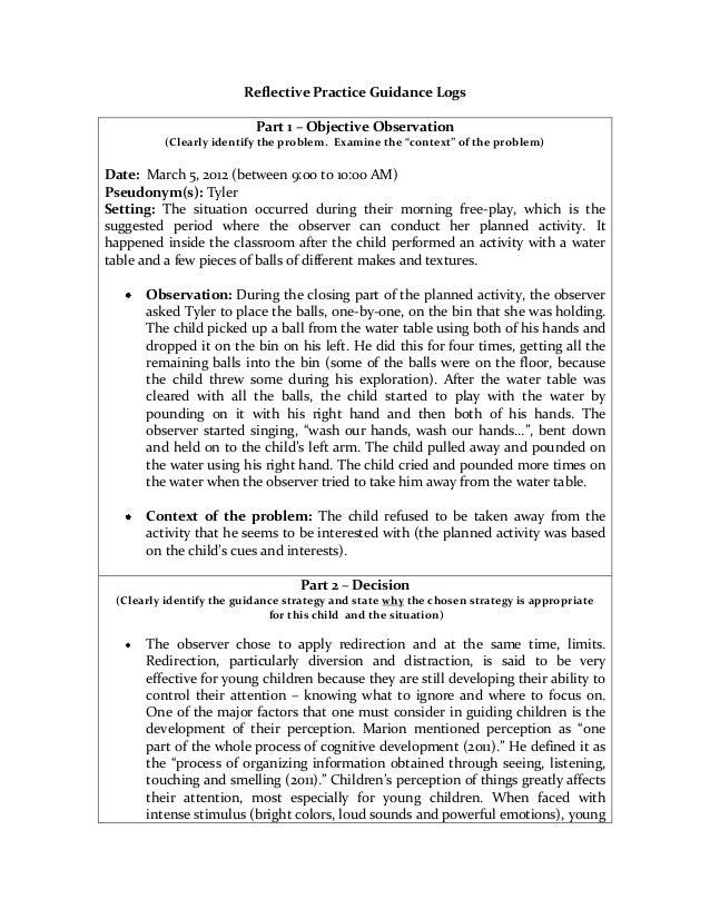 Reflective practice logs template