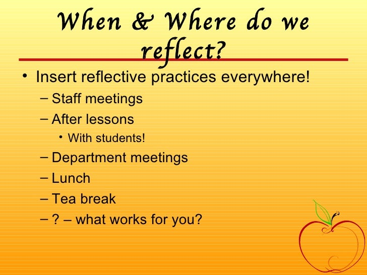 reflecting on reflective practice Since the author began work in reflective practice, at first informally in the late 1970s and then more formally in the mid-1980s, he has always looked at reflective practice as a compass of sorts to guide teachers when they may be seeking direction as to what they are doing in their classrooms the metaphor of reflection as a compass enables.