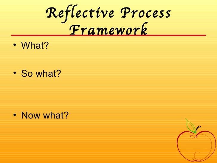 Reflective Process Framework <ul><li>What? </li></ul><ul><li>So what? </li></ul><ul><li>Now what? </li></ul>
