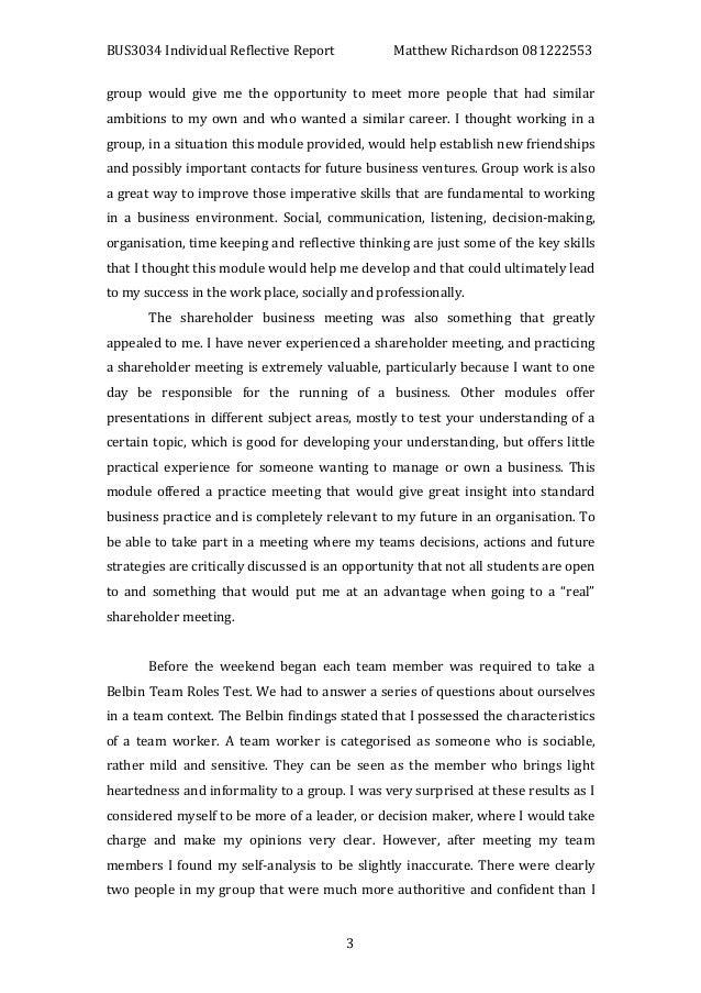 Individual reflection essay example