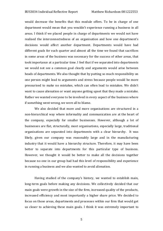 Self reflective essay international business