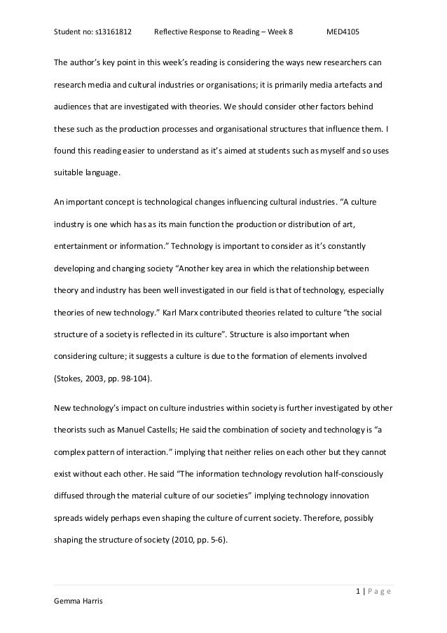 Student no: s13161812 Reflective Response to Reading – Week 8 MED4105 1   P a g e Gemma Harris The author's key point in t...