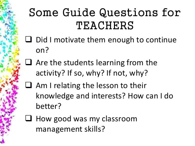 11 some guide questions for teachers