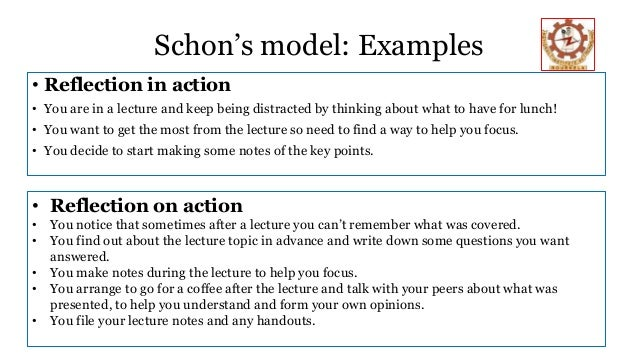 reflection on action This paper explores some of the work that has been occasioned by the writings of da schon on the development of professional knowledge by teachers the paper has four sections the first is a sketch of one interpretation of schon's theoretical approach the second examines selected appraisals of.