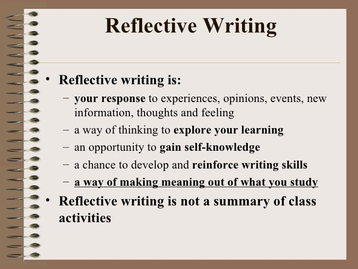 what does write a reflection mean