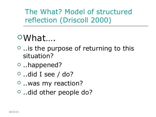 structured reflective template - reflective writing