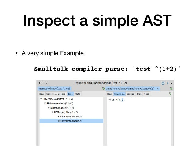 Inspect a simple AST • A very simple Example Smalltalk compiler parse: 'test ^(1+2)'