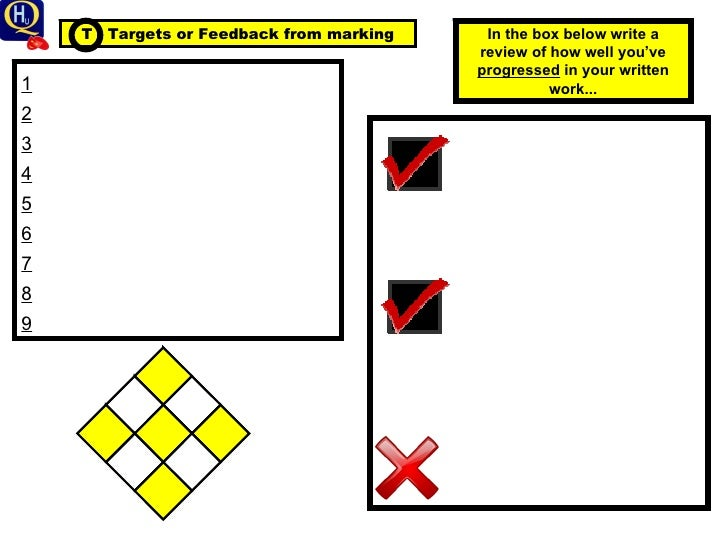 1 2 3 4 5 6 7 8 9 T  Targets or Feedback from marking In the box below write a review of how well you've  progressed  in y...