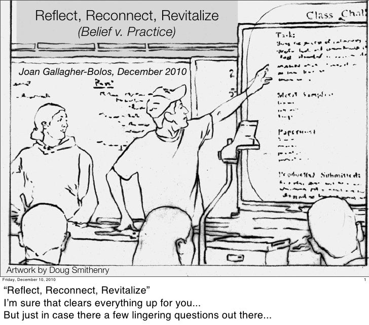 Reflect, Reconnect, Revitalize                            (Belief v. Practice)       Joan Gallagher-Bolos, December 2010 Ar...