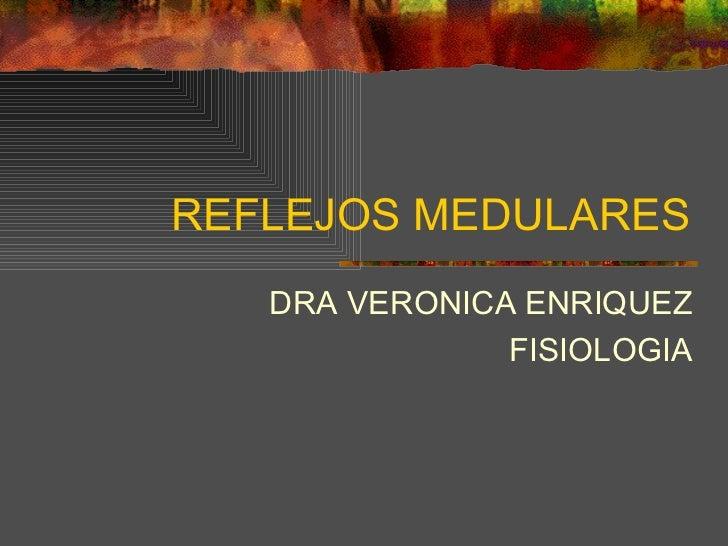 REFLEJOS MEDULARES DRA VERONICA ENRIQUEZ FISIOLOGIA