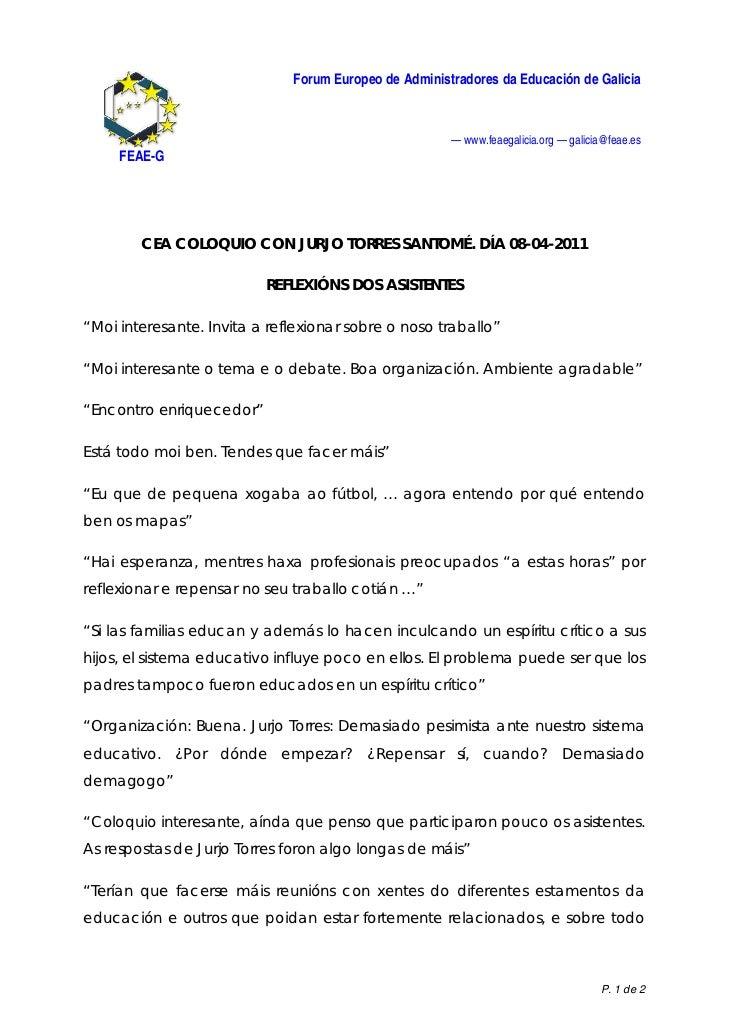 Forum Europeo de Administradores da Educación de Galicia                                                       — www.feaeg...
