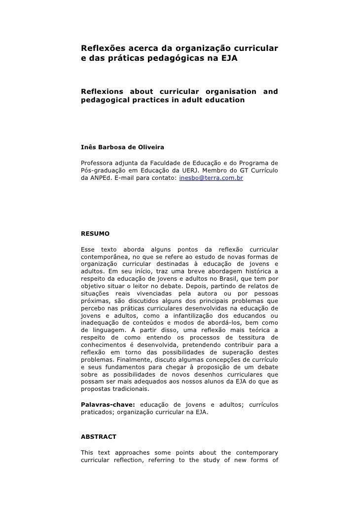 Reflexões acerca da organização curricular e das práticas pedagógicas na EJA    Reflexions about curricular organisation a...