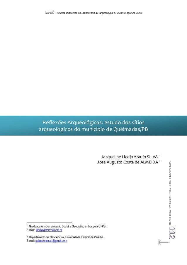 TARAIRIÚ – Revista Eletrônica do Laboratório de Arqueologia e Paleontologia da UEPB CampinaGrande,AnoII–Vol.1-Número02–Mar...