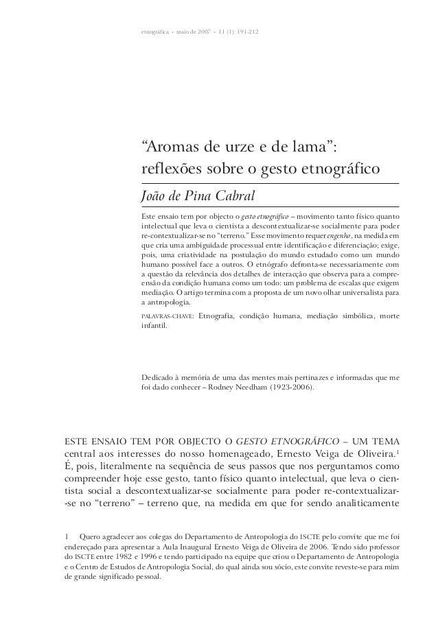 """etnográfica • maio de 2007 • 11 (1): 191-212  """"Aromas de urze e de lama"""": reflexões sobre o gesto etnográfico João de ..."""