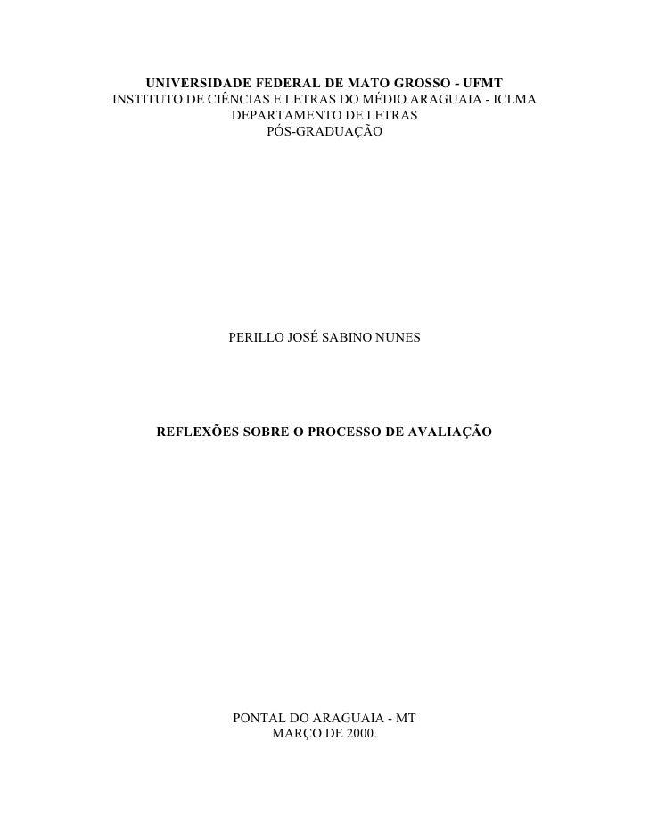 UNIVERSIDADE FEDERAL DE MATO GROSSO - UFMT INSTITUTO DE CIÊNCIAS E LETRAS DO MÉDIO ARAGUAIA - ICLMA                 DEPART...