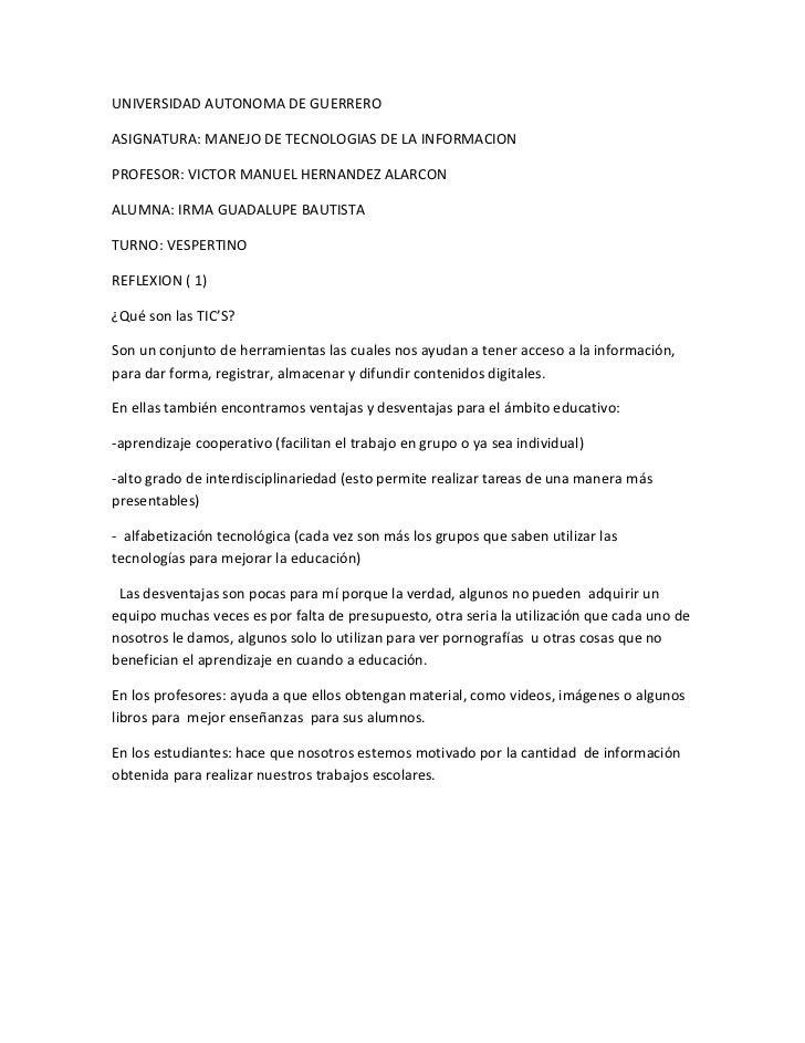 UNIVERSIDAD AUTONOMA DE GUERREROASIGNATURA: MANEJO DE TECNOLOGIAS DE LA INFORMACIONPROFESOR: VICTOR MANUEL HERNANDEZ ALARC...