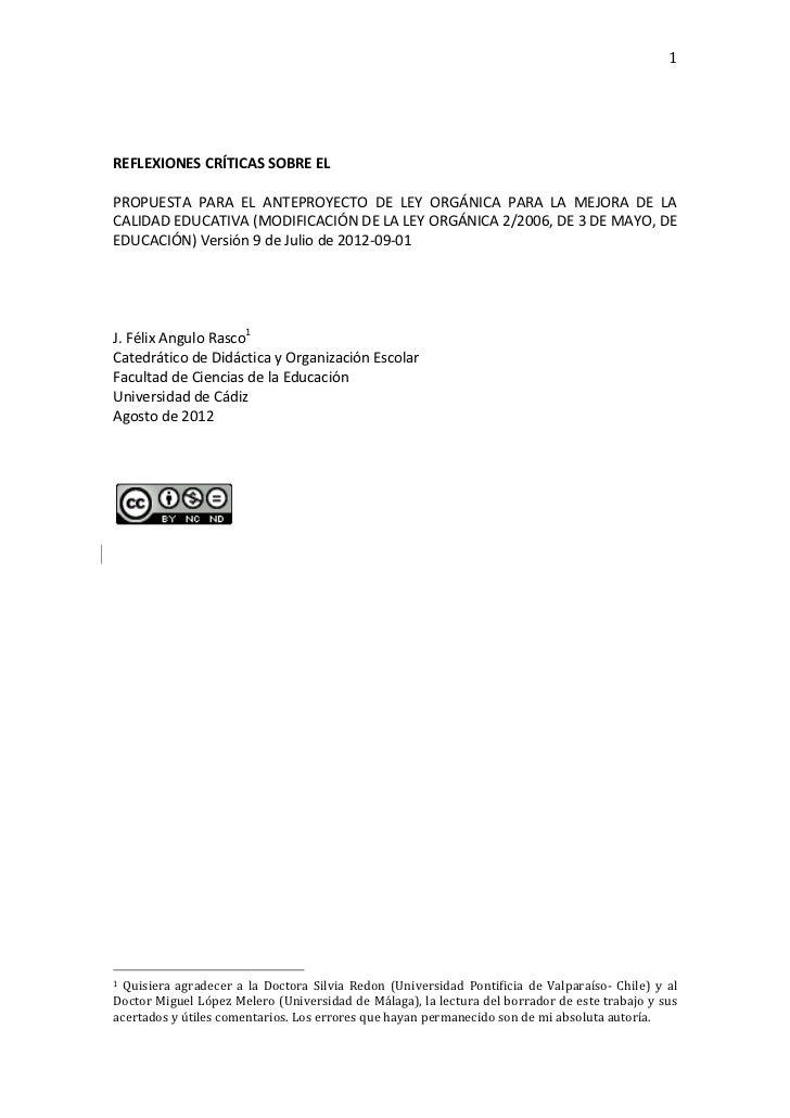 1    REFLEXIONES CRÍTICAS SOBRE EL  PROPUESTA  PARA  EL  ANTEPROYECTO  DE  LEY  ORGÁNICA ...