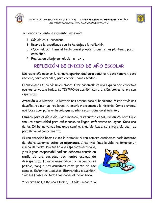 """INSTITUCIÓN EDUCATIVA DISTRITAL      LICEO FEMENINO """"MERCEDES NARIÑO""""                   CIENCIAS NATURALES Y EDUCACIÓN AMB..."""