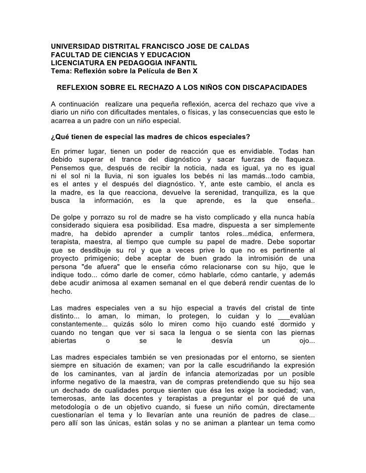 UNIVERSIDAD DISTRITAL FRANCISCO JOSE DE CALDASFACULTAD DE CIENCIAS Y EDUCACIONLICENCIATURA EN PEDAGOGIA INFANTILTema: Refl...