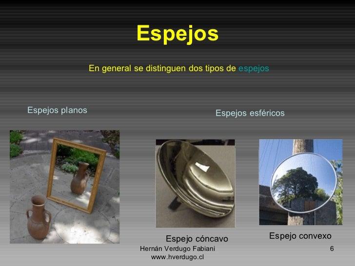 Reflexion de la luz for Espejos planos concavos y convexos