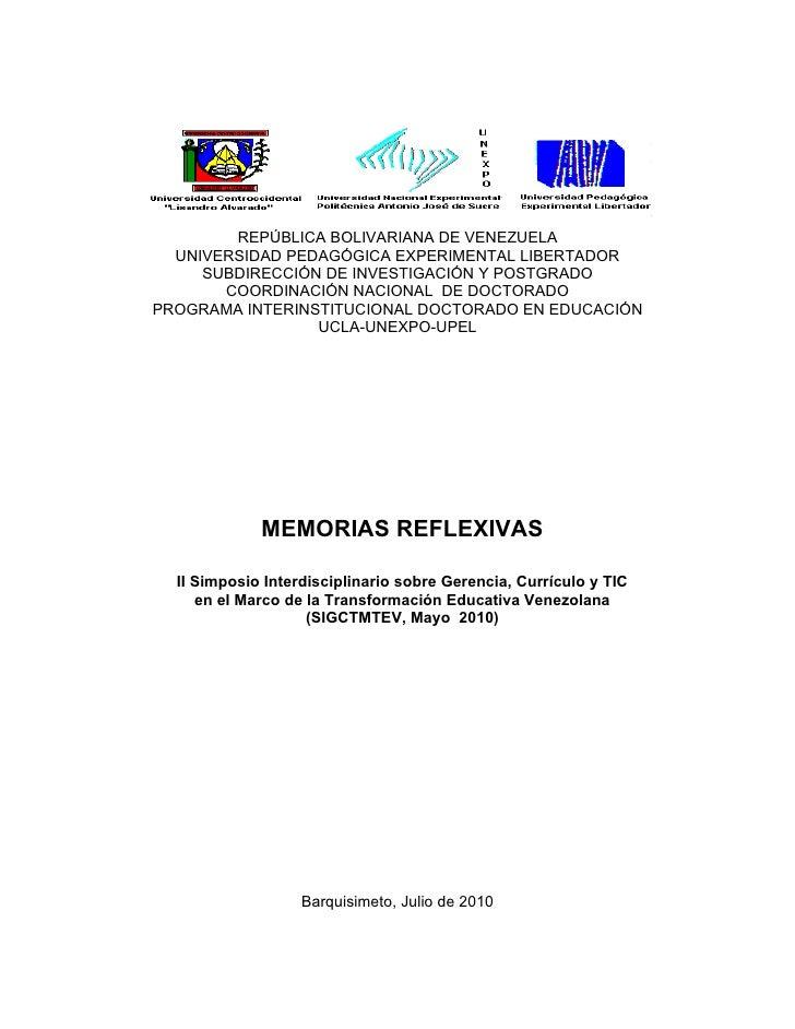 REPÚBLICA BOLIVARIANA DE VENEZUELA   UNIVERSIDAD PEDAGÓGICA EXPERIMENTAL LIBERTADOR      SUBDIRECCIÓN DE INVESTIGACIÓN Y P...
