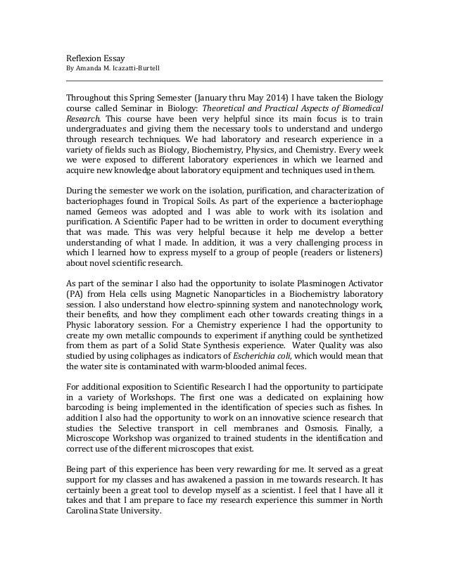 reflexion essay reflexion essay by amanda m icazatti burtell throughout this spring semester thru