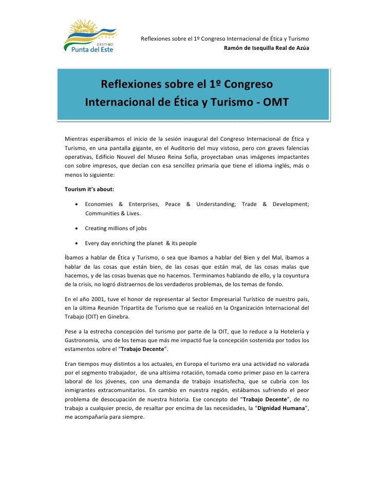 Reflexiones sobre el 1º Congreso Internacional de Ética y Turismo                                                         ...
