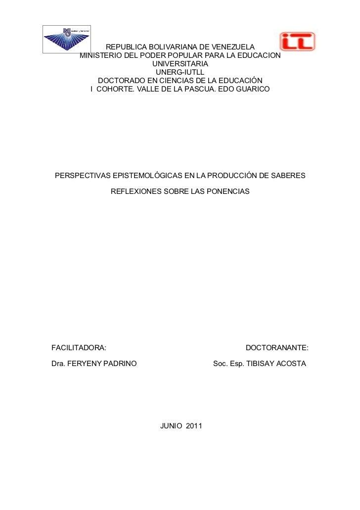 REPUBLICA BOLIVARIANA DE VENEZUELA      MINISTERIO DEL PODER POPULAR PARA LA EDUCACION                        UNIVERSITARI...
