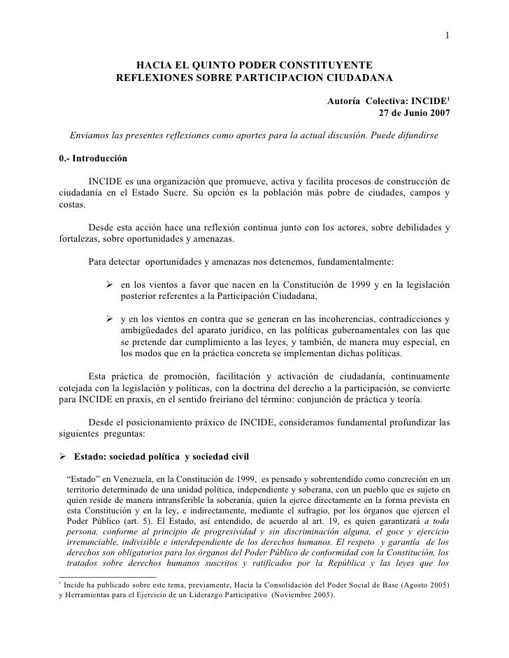 1                       HACIA EL QUINTO PODER CONSTITUYENTE                  REFLEXIONES SOBRE PARTICIPACION CIUDADANA    ...