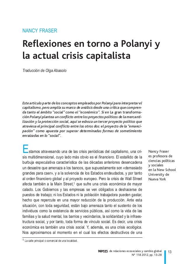 13de relaciones ecosociales y cambio global Nº 118 2012, pp. 13-28 Nancy Fraser es profesora de ciencias políticas y socia...