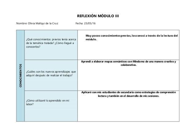 REFLEXIÓN MÓDULO III Nombre: Olivia Mallqui de la Cruz Fecha: 23/05/16 CONOCIMIENTOS ¿Qué conocimientos previos tenía acer...