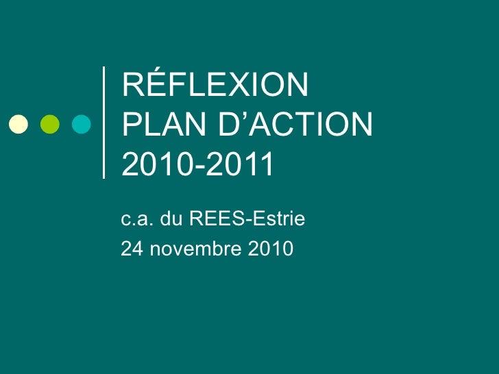 RÉFLEXION PLAN D'ACTION 2010-2011 c.a. du REES-Estrie 24 novembre 2010