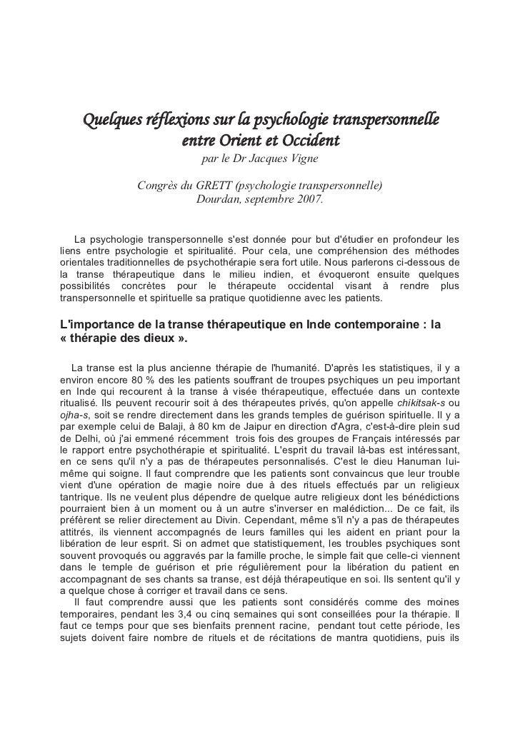 Quelques réflexions sur la psychologie transpersonnelle                   entre Orient et Occident                        ...