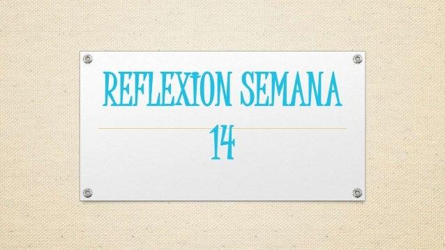REFLEXION SEMANA 14