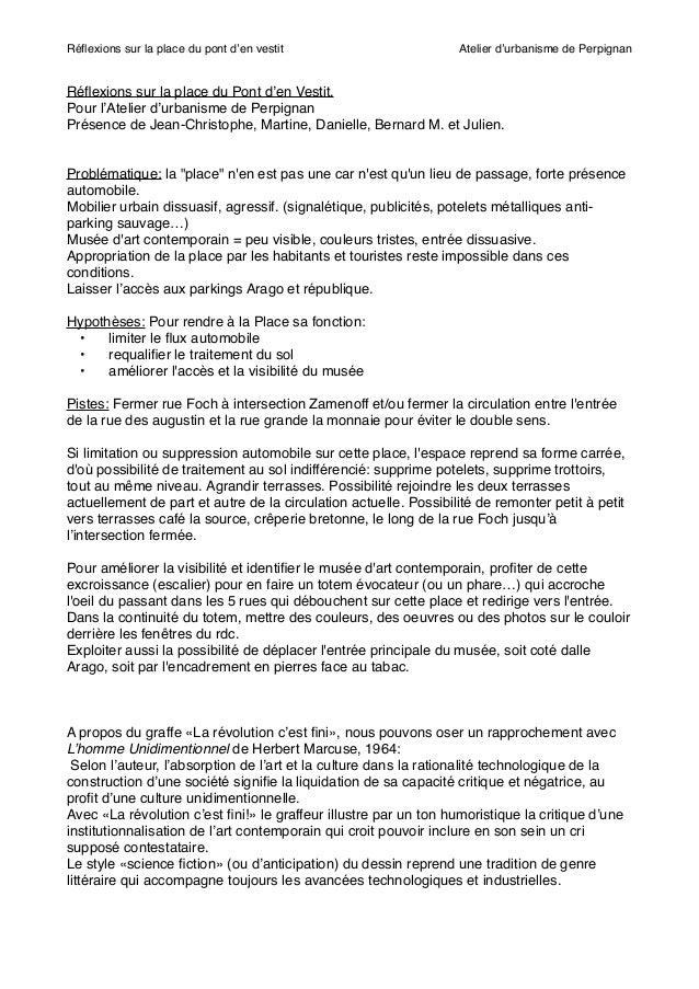 """Réflexions sur la place du pont d'en vestit """"  Atelier d'urbanisme de Perpignan  Réflexions sur la place du Pont d'en Vestit..."""