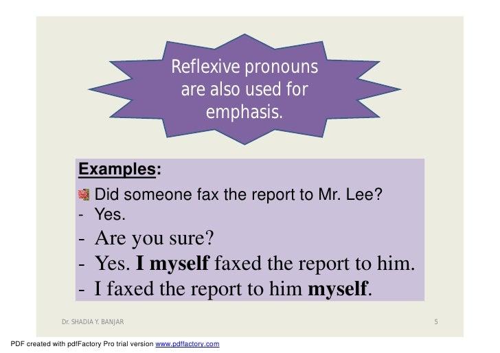 Reflexive Pronouns Slide 5