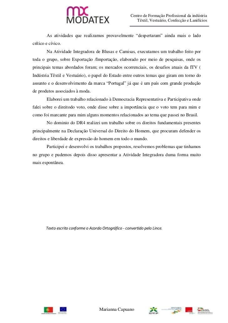 Centro de Formação Profissional da indústria                                                            Têxtil, Vestuário,...