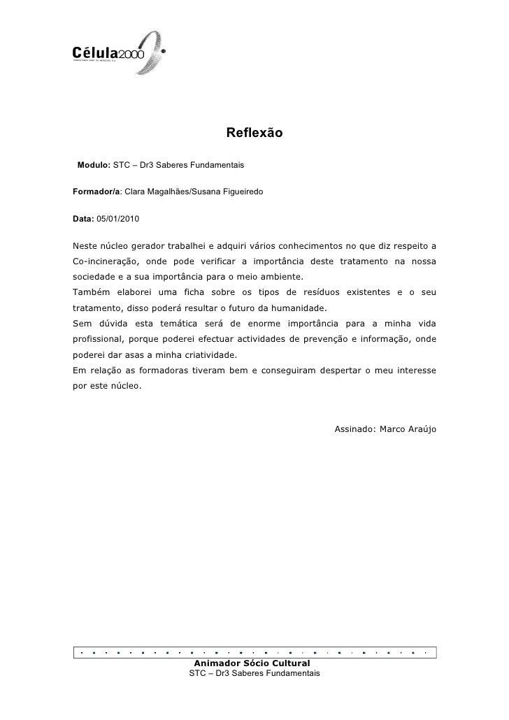 Reflexão   Modulo: STC – Dr3 Saberes Fundamentais   Formador/a: Clara Magalhães/Susana Figueiredo   Data: 05/01/2010   Nes...